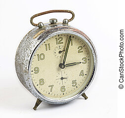 white isolated old clock vintage style
