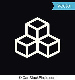 White Isometric cube icon isolated on black background. Geometric cubes solid icon. 3D square sign. Box symbol. Vector Illustration