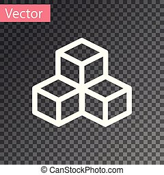 White Isometric cube icon isolated on transparent background. Geometric cubes solid icon. 3D square sign. Box symbol. Vector Illustration