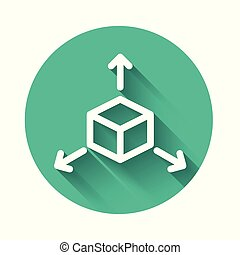 White Isometric cube icon isolated with long shadow. Geometric cubes solid icon. 3D square sign. Box symbol. Green circle button. Vector Illustration