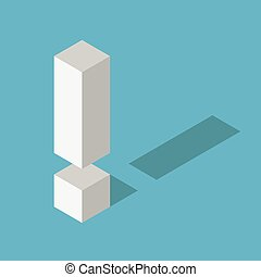 White isometric exclamation mark