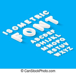 White isometric font alphabet with drop shadow on blue...