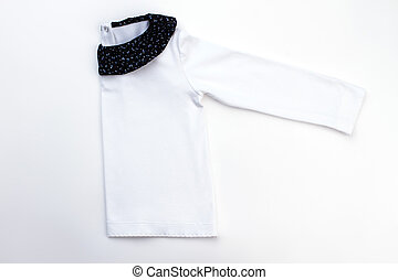 White jacket with black collar