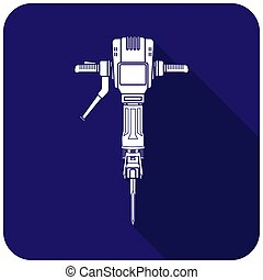 White jackhammer icon on a blue background