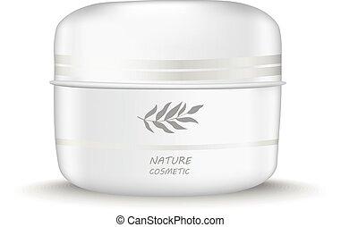 White jar of cream Natural cosmetics - Vector illustration