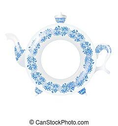 White jar with ornament of blue flowers. Gzhel. Vector illustrat