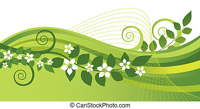 White jasmine flowers and green and yellow swirls banner. This image is a vector illustration