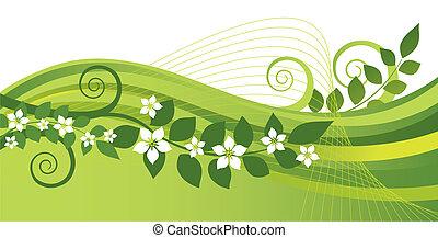 White jasmine flowers, green swirls