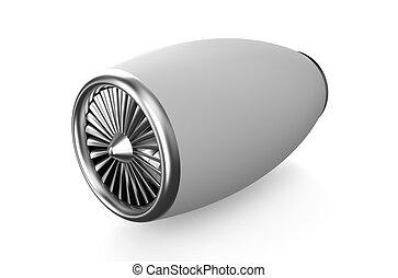 white jet engine isolated on white background