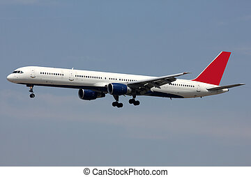 white jet landing