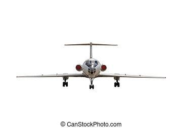 white jet passenger aircraft