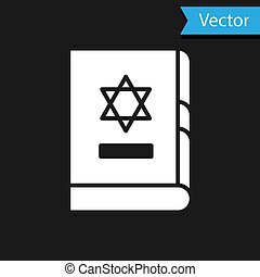 White Jewish torah book icon isolated on black background. On the cover of the Bible is the image of the Star of David.  Vector Illustration