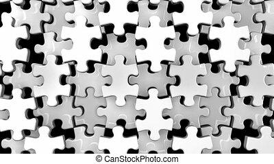 White jigsaw puzzle on black background. 3DCG render...
