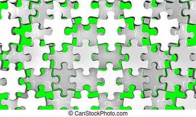White jigsaw puzzle on green chroma key. 3DCG render...