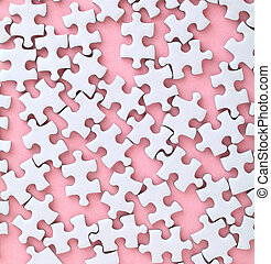 White jigsaw puzzle on pink background