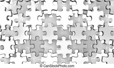 White jigsaw puzzle on white background. 3DCG render...