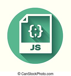 White JS file document icon. Download js button icon isolated with long shadow. JS file symbol. Green circle button. Vector Illustration