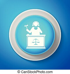 White Judge with gavel on table icon isolated on blue background. Circle blue button with white line. Vector Illustration