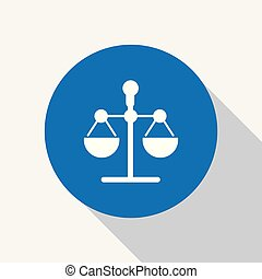 White justice, law scale icon in blue circle.