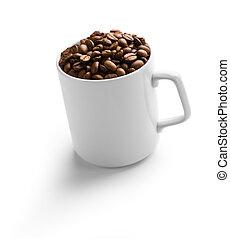 white kávécserje, por, csésze
