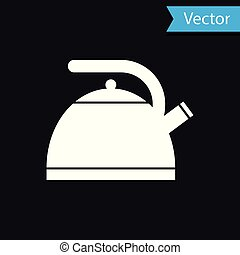 White Kettle with handle icon isolated on black background. Teapot icon. Vector Illustration