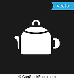 White Kettle with handle icon isolated on black background. Teapot icon. Vector