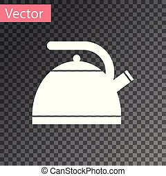 White Kettle with handle icon isolated on transparent background. Teapot icon. Vector Illustration