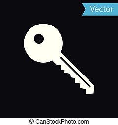 White Key icon isolated on black background. Vector Illustration