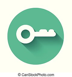 White Key icon isolated with long shadow. Green circle button. Vector Illustration