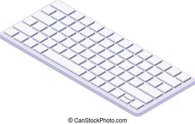 White keyboard icon, isometric style