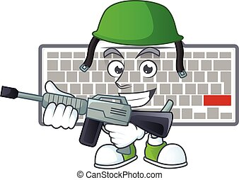 White keyboard mascot design in an Army uniform with machine gun