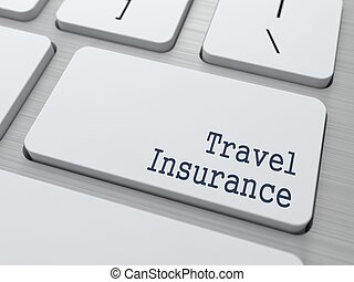 White Keyboard with Travel Insurance Button. - Travel...