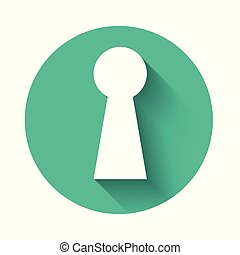 White Keyhole icon isolated with long shadow. Key of success solution. Keyhole express the concept of riddle, secret, peeping, safety, security. Green circle button. Vector Illustration