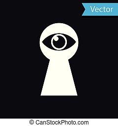 White Keyhole with eye icon isolated on black background. The eye looks into the keyhole. Keyhole eye hole. Vector Illustration