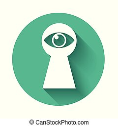 White Keyhole with eye icon isolated with long shadow. The eye looks into the keyhole. Keyhole eye hole. Green circle button. Vector Illustration