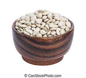 White kidney beans in wooden bowl isolated on white background