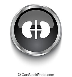 White Kidneys symbol on black glossy web button
