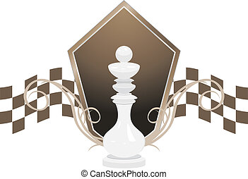 White king and shield. Chess icon. Vector illustration