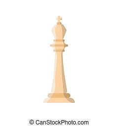 white king chess piece flat style icon