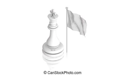 White king with flag - part of isometric collections of...