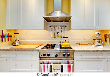 WHite kitchen cabinets with stove and hood.