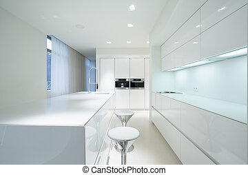 White kitchen interior - White beauty kitchen interior in...