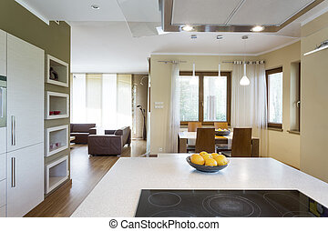 White kitchen island with electric cooktop in a neat modern...