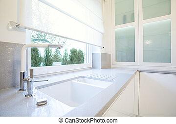 White kitchen - Luxury white kitchen with big window ...