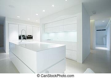 White kitchen unit - White gleaming kitchen unit in sterile ...