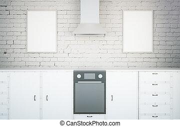 White kitchen with frames