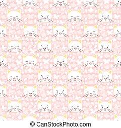 White kitten vector seamless pattern.