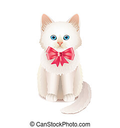 White kitten with pink bow vector illustration