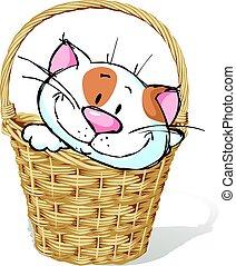 white kitty in basket - vector illustration