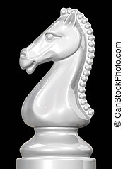 White chess piece knight against black background.